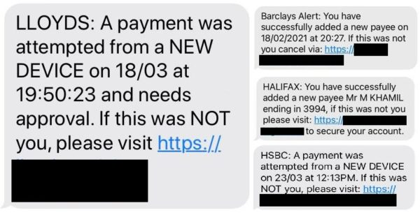 Bank scam texts